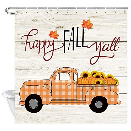JAWO Herbst-Duschvorhang, Erntedankfest, Kürbis-/LKW-/Ahornblätter, Bauernhaus-Stoff, Badvorhänge mit Haken, 175 x 178 cm (B x L)