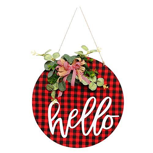 Nirmon Hello Sign per Front Door, Welcome Wreath Insegna Rustica Rotonda nel Legno da Appendere per La Decorazione della Casa del Portico del Ristorante della Fattoria, A.
