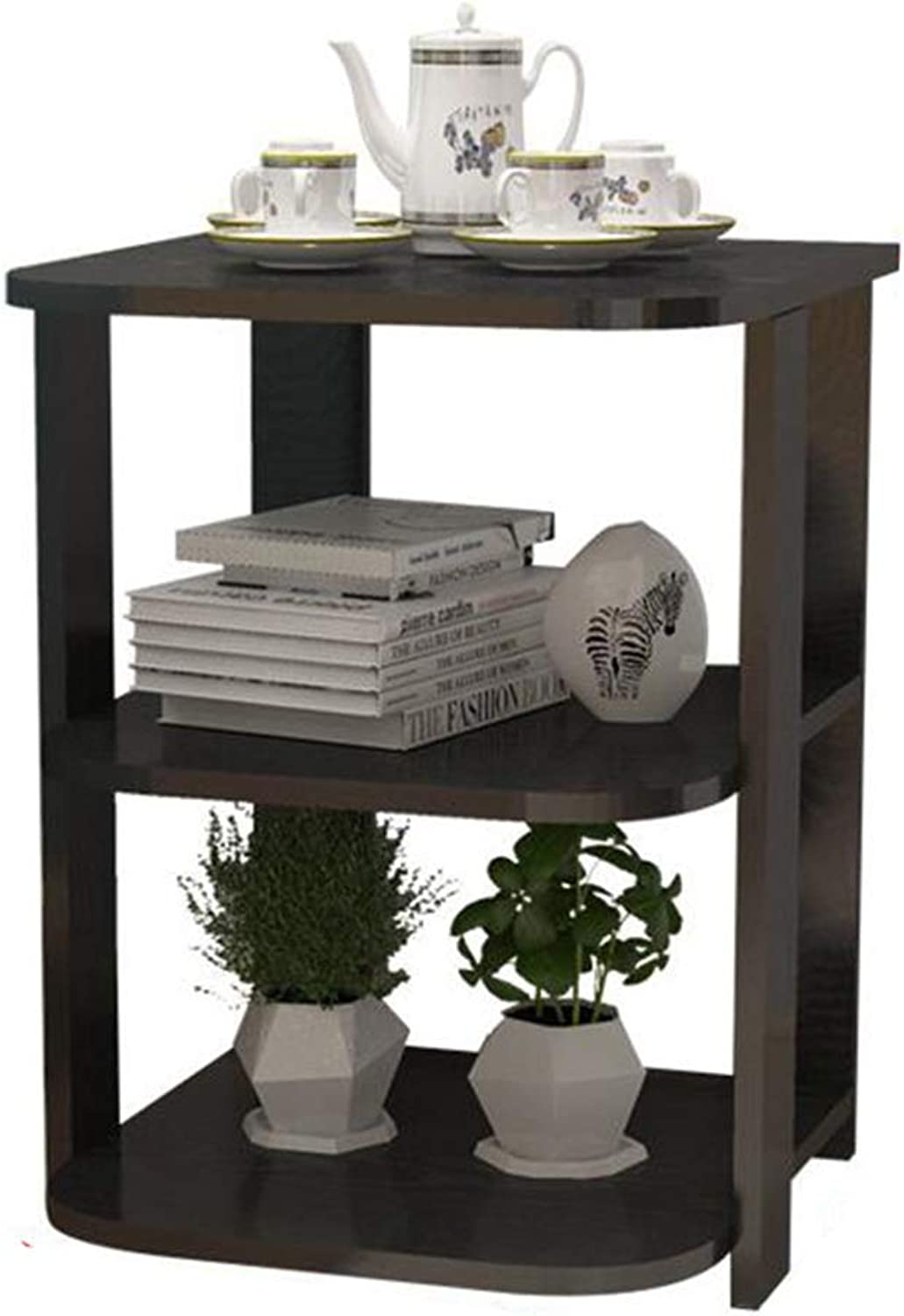 Tables Side Composite Wood Board, Nightstand Couch Table Living Room Balcony Office, 2-Tier Shelf LIUNA (color   Black)