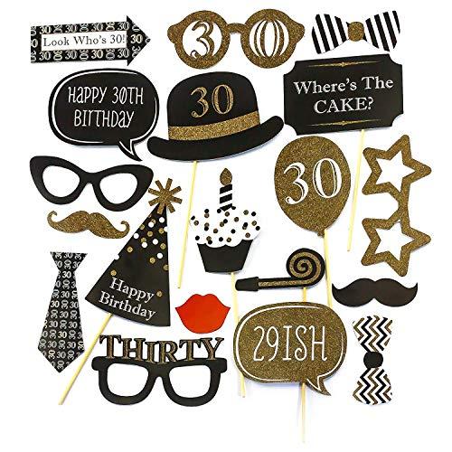 BigBigShop 20 stuks 30 verjaardag foto props maskers kaars taart fotorekwisieten ballon partydecoratie