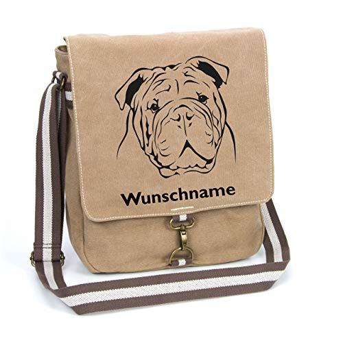 Englische Bulldogge Canvas Schultertasche Umhängetasche Tasche mit Hundemotiv und Namen personalisiert
