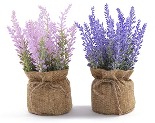 LODESTAR Artificial Lavender Flowers with Burlap Cloth Potted Mini Fake Flowers Indoor Outdoor Home Bathroom Office Decoration Set of 2 Purple and Pink