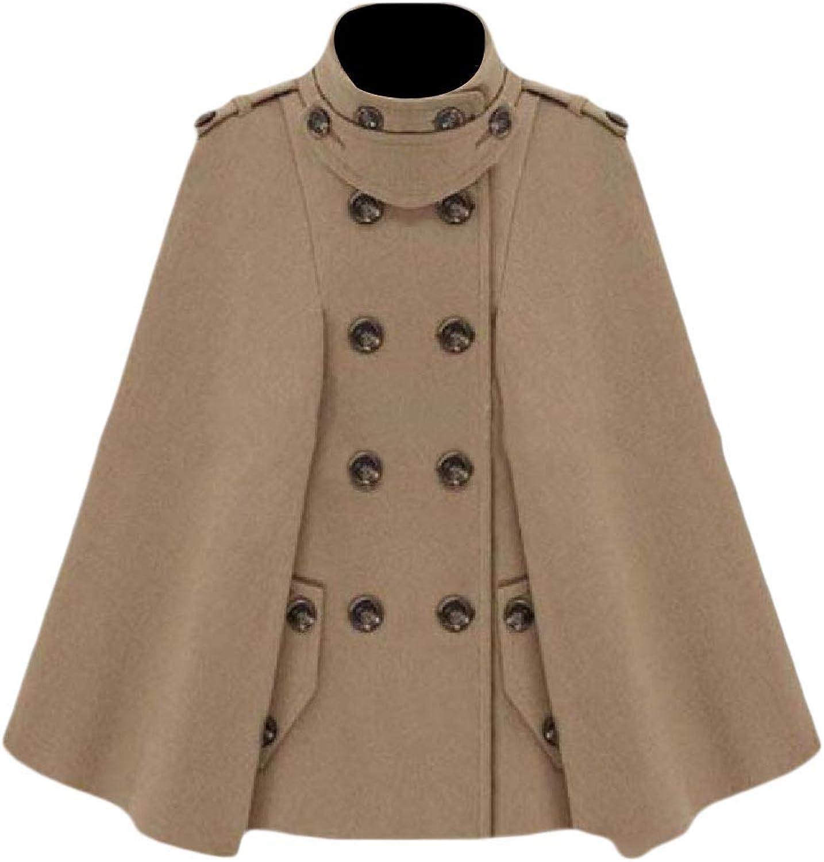 Unastar Women Warm Fall Winter DoubleBreasted Stylish Poncho Trench Coat