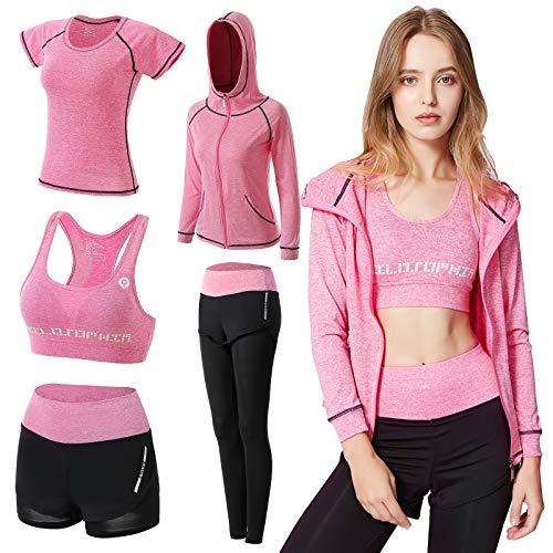 ODWTMRK Conjunto Deportivo Mujer Fitness, 5 Piezas Ropa Deportiva Mujer Gym Conjuntos de Yoga Running Training Estiramiento Ropa de Gimnasio(Rosa,L)