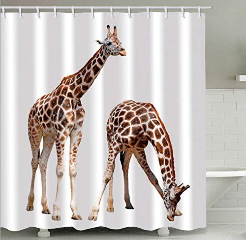 AZZXZONa Polyester 100prozent Stoff Bad Vorhang 180X200 cm Wasserdicht Mehltau Hotel Hause Wohnheim Raumteiler Dekor Duschvorhang Kreative 3D Giraffe Drucken 12 Haken