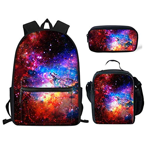 Galaxy Secondary School Backpack for Girls Boys Teens Bookbags Small School Bag and Lunch Bag Pencil Case Set of 3 Red