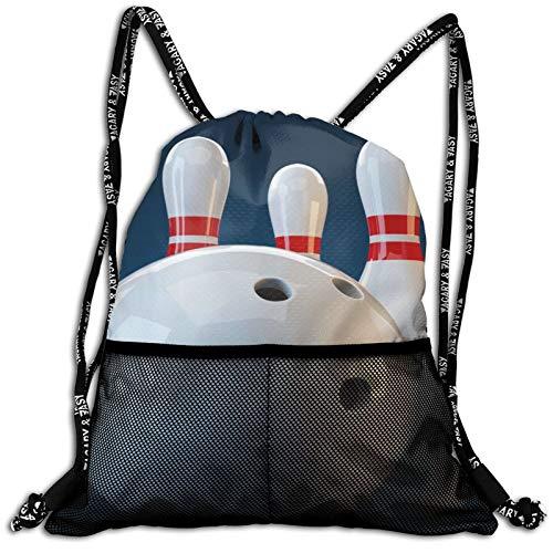 Weretlyop Cool Bowling Ball Bundle Backpack Unisex Home Gym Sack Bag Sport Drawstring Backpack Bag