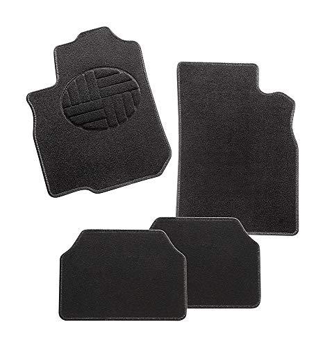 CarFashion 283239 Jamarina C03, textiel auto deurmat in zwart, automat, ovale zwarte stapbescherming, zwarte hoogglans randen, auto vloermatten set zonder mathouder
