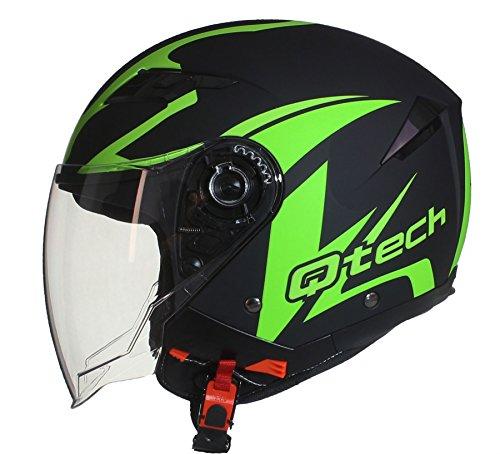 Qtech Helm Jethelm Motorrad Rollerhelm Offenes Gesicht Sonnen-Visier - ECE Genehmigt Grün - L (59-60cm)