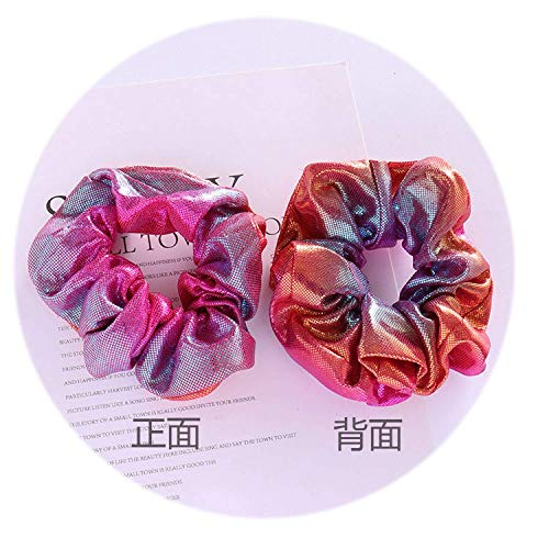 OULN1Y Bandeaux New Women Shiny Fabric Gradient color Laser Fabric Hair Scrunchies Girls Punk Style HairBands Hair Holder Gum For Hair,3