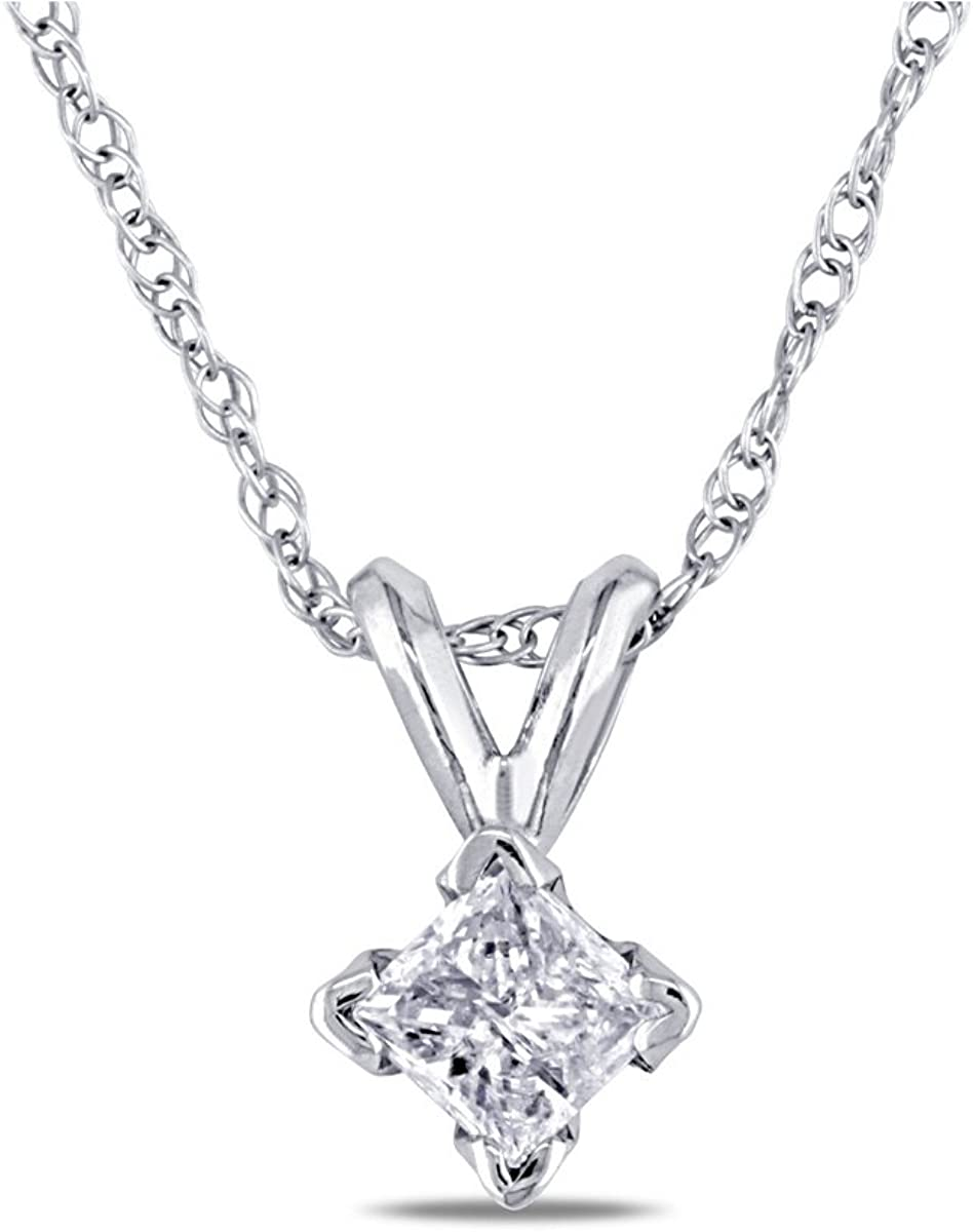 1/4 Carat (ctw) Princess Cut Solitaire Diamond Pendant in 14K White Gold with Chain