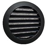 Rejilla de aireación (DN: 100, 125, 150160200, aluminio con mosquitera), color negro y gris, Negro