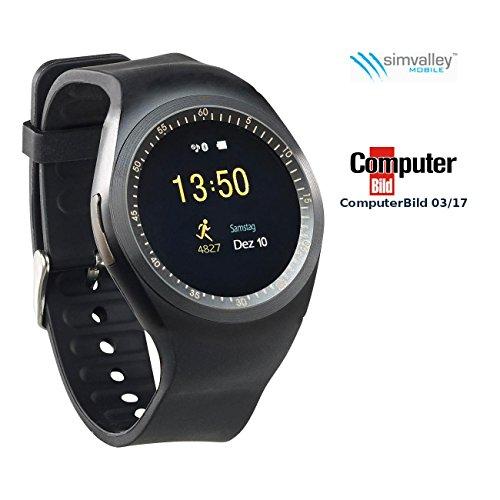 simvalley MOBILE Smartwatch mit Nano SIM: 2in1-Uhren-Handy & Smartwatch für Android, rundes Display, Bluetooth (Smartwatch SIM Slot)