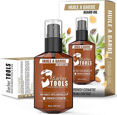 Aceite para la Barba con aceites 100% naturales 60ml - Hecho en Francia - Promueve el crecimiento de la Barba - A base de aceite de RICINA, 7 aceites vegetales y 3 aceites esenciales y vitamina E