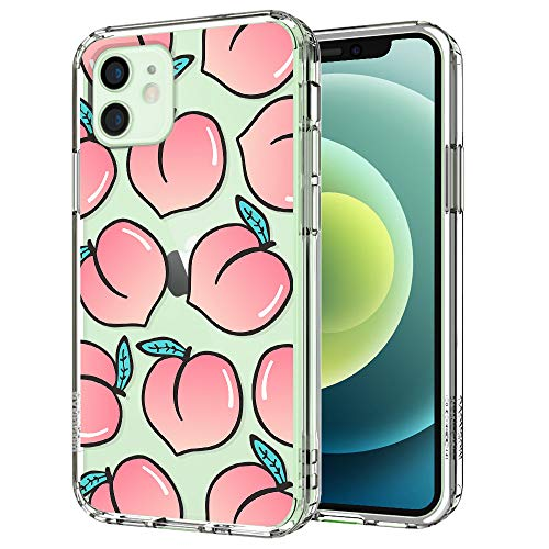 MOSNOVO Peach Pattern Designed for iPhone 12 Case 6.1 Inch/Designed for iPhone 12 Pro Case 6.1 Inch,Clear Case with Design,TPU Bumper with Protective Hard Case Cover