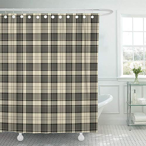 """Emvency Fabric Shower Curtain with Hooks Tan Flannel Plaid Pattern Brown Masculine Black Cream Country Tartan Taupe Autumn 60""""X72"""" Decorative Bathroom"""