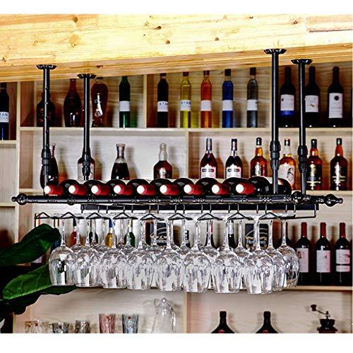 1yess Vintage Bottiglia di Vino Stile Supporto Industriale del Metallo Registrabile Bottle Holder a soffitto Wine Bar Rack Hanging Rack Vetro for Bar Ristoranti Cucine Rack Size : 150cm(59.1)