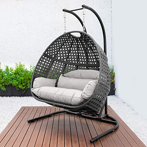 Harrier Hanging Egg Chair Swing – 2 Sizes | Indoor Outdoor Patio Garden Chair – Freestanding Rattan Egg Chair With Stand (Double Seat Only, Grey/White)