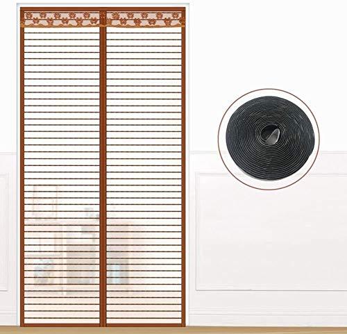 Fly scherm deur Summer Vircro magneet muskietengordijn, Anti mosquito bug gordijn Deur rolluiken for slaapkamer woning Invisible zand gordijn (Color : Brown, Size : 80x200cm(31x79inch))