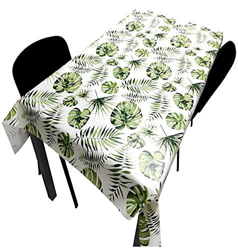 Hule   Mantel Mesa Antimanchas   Mantel Mesa Comedor y Mesa Cocina PVC Impermeable, para Interior y Exterior Diseño Hojas de Palmera Verde (140_x_220_cm)