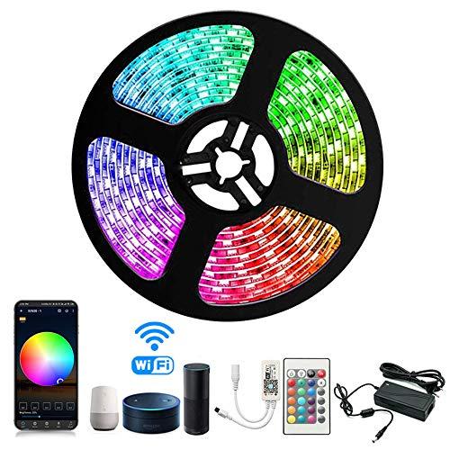 Preisvergleich Produktbild Arotelicht LED Streifen Set Wifi RGB Strip Kit,  Smart RGB LED Strip Lichtleiste Arbeitet mit Alexa,  IFTTT,  Google Home Smartphone,  12V 5M 5050SMD 300 LED Bänder Lichterkette mit Netzteil & Controller