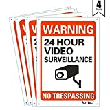 Famtec Video Surveillance Sign Outdoor Warning Sign | 7'x 10' Aluminum | Indoor Outdoor | Home Business CCTV Security Camera | Waterproof UV Protected | Red | 7x10, Red | Reflective | 4 Pack