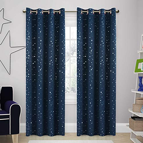 H.VERSAILTEX Blackout Curtains Kids Room Thermal Insulated Twinkle Stars Printed Curtain Draperies for Boys Girls, Sleep-Enhancing Magic Grommet Drapes, 2 Panels, Each 52x84-Inch, Navy