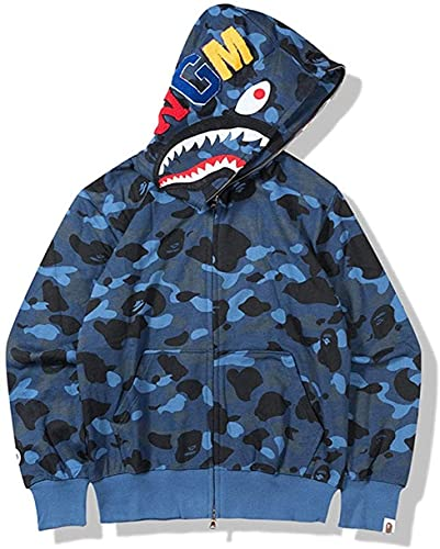 YAANGSI Bape Hoodie Chaqueta Hombres Mujeres Universal Juvenil Adulto Jersey Completo Zip (Color : Blau, Size : XX-Large)
