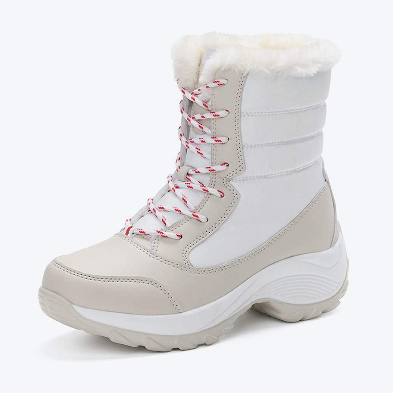 T-JULY Women Casual Mid Calf Boots Winter Faux Fur Ladies Platform Flat Lace Up Warm shoes Female Leisure
