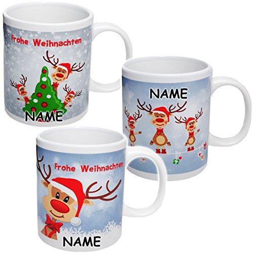 alles-meine.de GmbH 1 Stück _ Henkeltasse / Kaffeetasse -  Weihnachten - lustige Rentiere  - incl. Name - groß - 300 ml - Porzellan / Keramik - Teetasse - Weihnachtstasse / Glü..