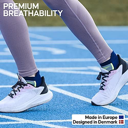 DANISH ENDURANCE Calcetines de Deporte Low Cut Pack de 3 (Multicolor: 1 x Negro, 1 x Gris, 1 x Azul/Amarillo neón, EU 43-47)