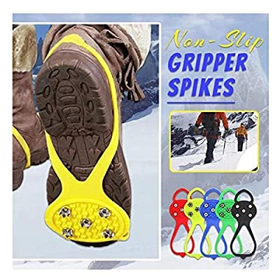 Universal Non-Slip Gripper Spikes, Ice Cleats with 5-Claw Anti-Slip Nails, Durable Shoe Ice & Snow Grips, Ice Grippers Traction Shoe Covers Durable Cleats with Good Elasticity (Black)