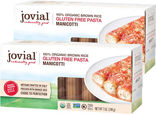 Jovial Manicotti Gluten-Free Pasta | Whole Grain Brown Rice Manicotti Pasta | Non-GMO | Lower Carb | Kosher | USDA Certified Organic | Made in Italy | 7 oz (2 Pack)