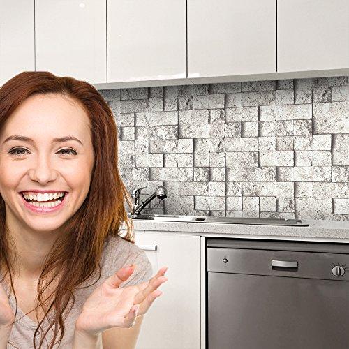 druck-expert Küchenrückwand Selbstklebend Dekorfolie Steinwand grau Profi Qualität 0, 25mm 3D Strucktur 400x61cm