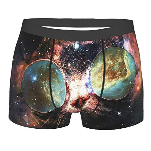 Abstracto Space Cat Gafas de sol Esconder Galaxy Milky Way Calzoncillos tipo bóxer para hombre con bolsa de ballpark integrada
