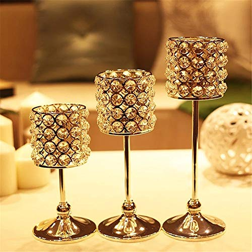 ZzheHou Candlestick Holders Crystal Candle Holder Candelabra Candlestick Table Stand Home Party Decoration Dinning Home Decorations (Color : Silver, Size : L)