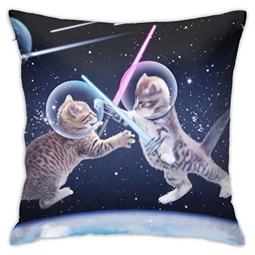 WH-CLA Pillowcase Cats In Outer Space Fundas De Cojín para Cama Blanda Apartamento 45X45Cm Sofá Regalo Coche Cremallera Fiesta Oficina Fundas De Almohada Fundas De Almohada Decoración De