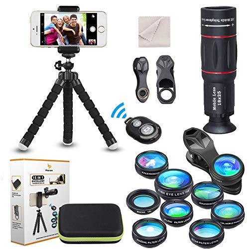 15 in 1 Kameraobjektiv Kit 18 fach Teleobjektiv, Weitwinkelobjektiv, Makroobjektiv, Fischaugenobjektiv, Kaleidoskop Objektiv, CPL Durchfluss Stern, Stativ, Fernauslöser für die meisten Smartphones