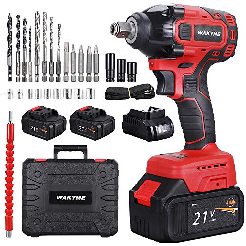 "WAKYME 21V Impact Wrench, 330Nm Electric Wrench Drive 2 * 4000mAh Batteries Impact Wrench 1/2""hex Quick Connector Cordless Ratchet Wrench with Auto-Stop System"