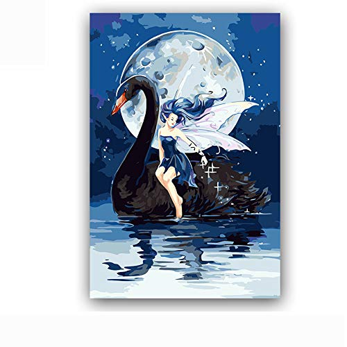 Abkaeh Rompecabezas de 1000 Piezas Chica Cisne Negro Iluminado por la Luna Difícil y Desafiante Juguete Desafío de Ejercicio Cerebral Juego de Alta dificultad Regalo 50x75cm