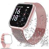 Smartwatch mit Aktivitäts-Tracker, wasserdicht IP68, Herzfrequenz-Monitor und Schlaf-Tracker mit Schrittzähler mit 2 austauschbaren Armbändern für Männer und Frauen