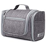 WANDF Toiletry Bags for Traveling Large Hanging Cosmetic Organizer Shower Bathroom Bag for Men Women Water-resistant (gray)