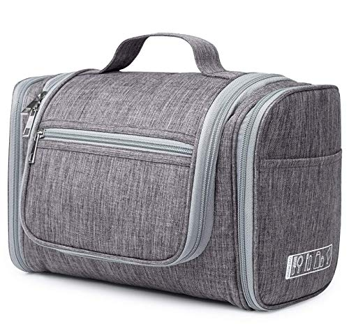 WANDF Extra Large Hanging Toiletry Bag Travel Cosmetic Organizer Shower Bathroom Bag for Men Women Water-Resistant (Denim Grey)