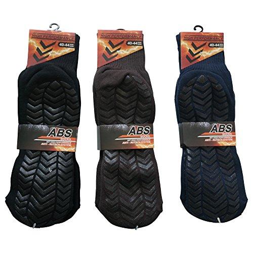 SW 4 Paar Herren Profil- ABS Socken Anti Rutsch Socken Stoppersocken Noppensocken 40-44 (Blau)