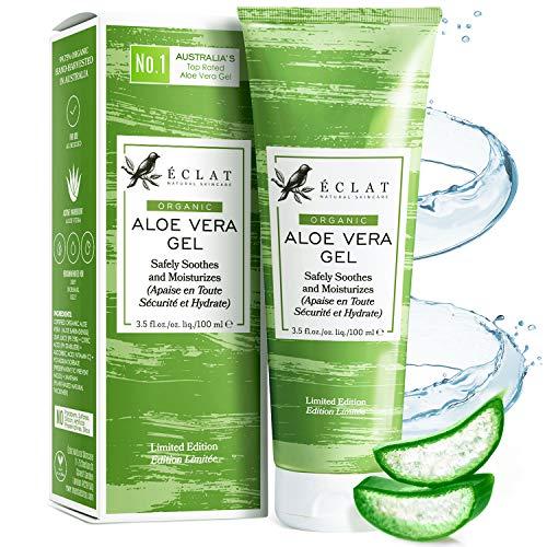 100% Gel Aloe Veral Bio Eclat – Gel Aloe Vera Naturale Viso, Corpo e Capelli con Vitamina C e Olio di Aloe Vera Barbadensis in un Gel di Aloe Vera Puro Assorbimento Rapido