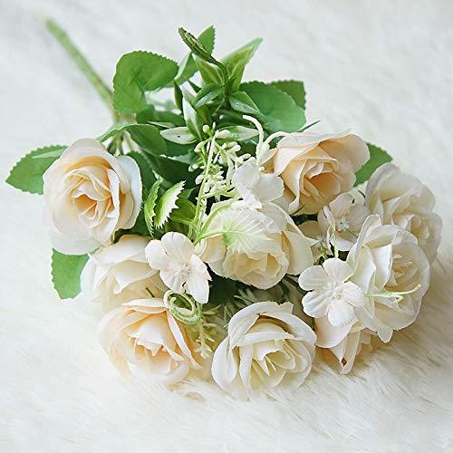 Künstliche Blumen Gefälschte Seidenrosen Künstliche Blumen for Hochzeit Home Kleine Künstliche Rose Bouquet Faux Blume Handwerk Party Dekoration Günstige Dekor (Color : Champagne B)