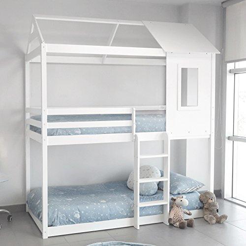 DISTRIMOBEL Litera Tipo Montessori con Forma de casita Color Blanco Medidas 201,5...