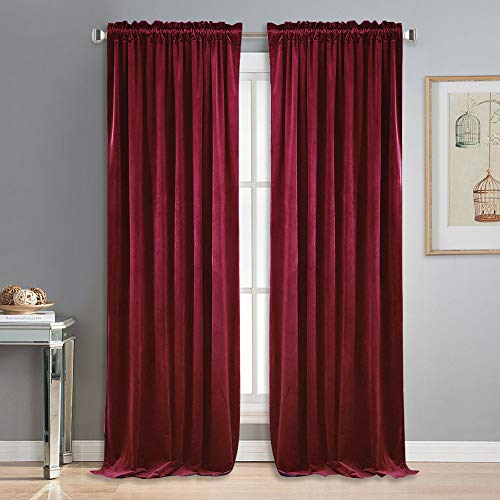 NICETOWN Red Velvet Curtains and Drapes for Bedroom - Ruby Red Curtains for Holiday Season Home Decoration (Set of 2, Rod Pocket Design, 84 inch Long)