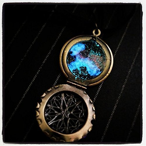 Brass Caged Window Locket with Glow In the Dark Galaxy and Nebula on Black Ribbon and Cord Necklace