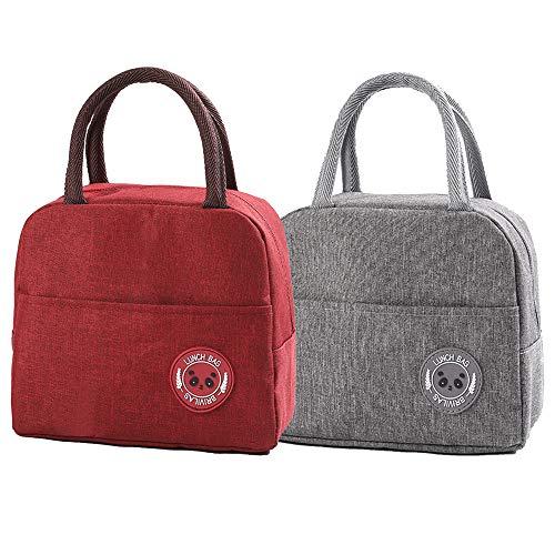 GOTONE 2Pack Lunch Bag Contenedor aislado, Travel Picnic School Lunch Box Bolso de mano plegable, reutilizable y multiusos para hombres, mujeres y niños(Rojo y gris)
